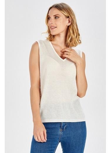 Peraluna Peraluna Dantel Detaylı Beyaz Renk Kolsuz Kadın Triko Bluz Beyaz